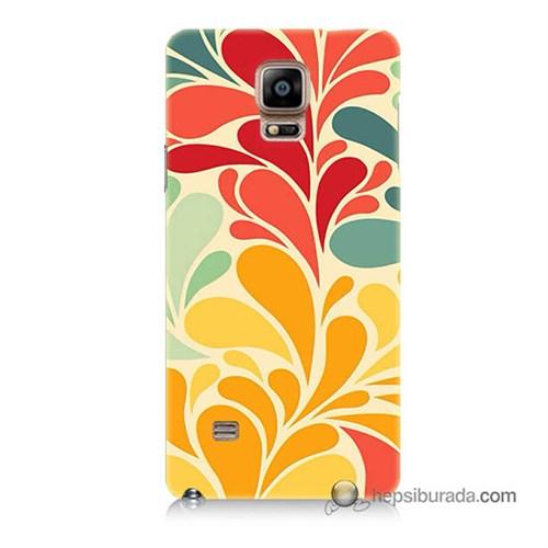 Teknomeg Samsung Galaxy Note 4 Kapak Kılıf Çiçekler Baskılı Silikon
