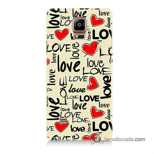 Teknomeg Samsung Galaxy Note 4 Kapak Kılıf Love Baskılı Silikon