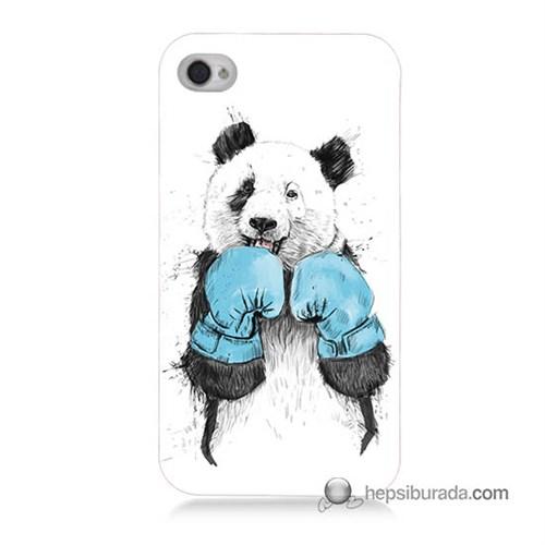 Teknomeg İphone 4 Kılıf Kapak Boksör Panda Baskılı Silikon