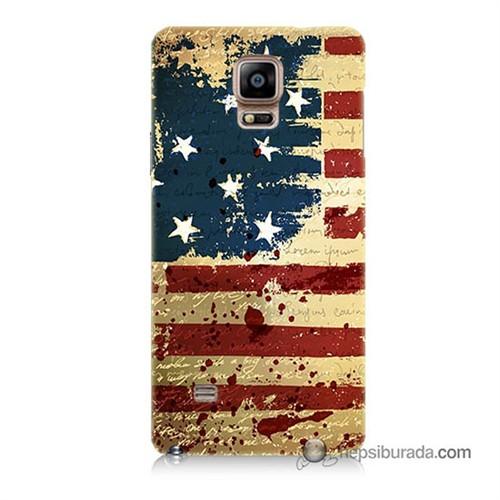 Teknomeg Samsung Galaxy Note 4 Kılıf Kapak Amerika Bayrağı Baskılı Silikon