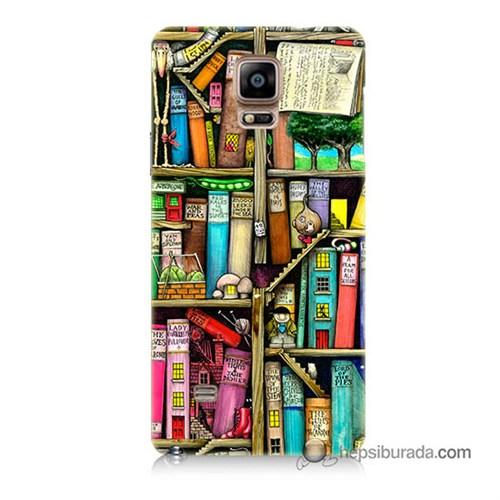 Teknomeg Samsung Galaxy Note 4 Kapak Kılıf Kitaplık Baskılı Silikon