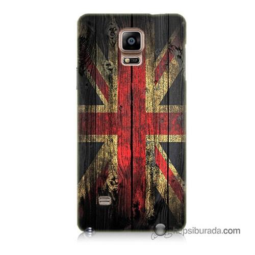 Teknomeg Samsung Galaxy Note 4 Kapak Kılıf İngiliz Bayrağı Baskılı Silikon