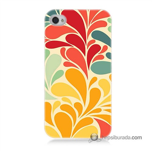 Teknomeg İphone 4S Kapak Kılıf Çiçekler Baskılı Silikon