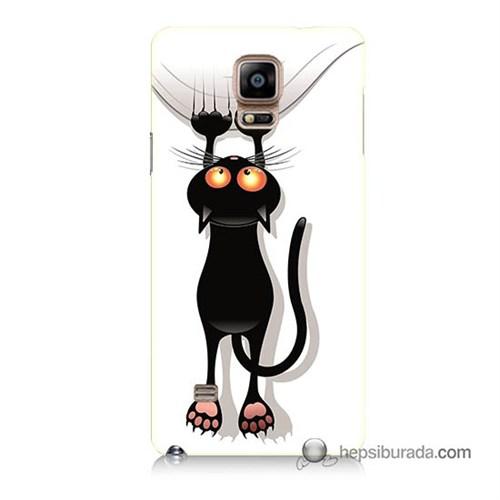 Teknomeg Samsung Galaxy Note 4 Kılıf Kapak Kara Kedi Baskılı Silikon