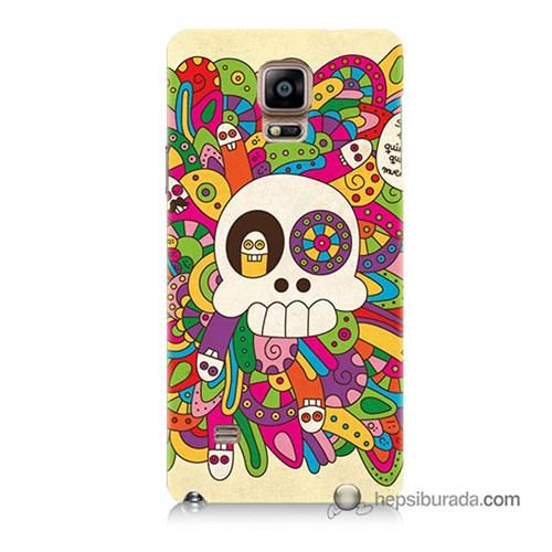 Teknomeg Samsung Galaxy Note 4 Kapak Kılıf Örgülü Kurukafa Baskılı Silikon