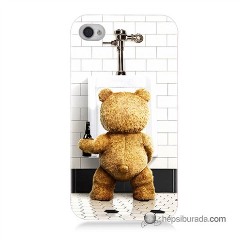Teknomeg İphone 4S Kılıf Kapak Tedy Bear Baskılı Silikon