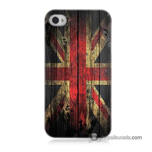 Teknomeg İphone 4S Kapak Kılıf İngiliz Bayrağı Baskılı Silikon
