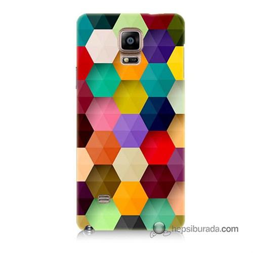 Teknomeg Samsung Galaxy Note 4 Kapak Kılıf Renkli Petek Baskılı Silikon