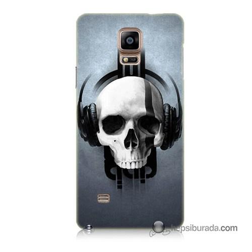 Teknomeg Samsung Galaxy Note 4 Kılıf Kapak Müzik Dinleyen Kurukafa Baskılı Silikon