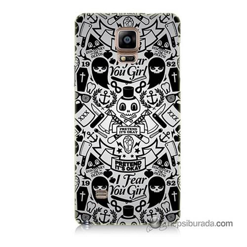 Teknomeg Samsung Galaxy Note 4 Kılıf Kapak Karikatür Baskılı Silikon