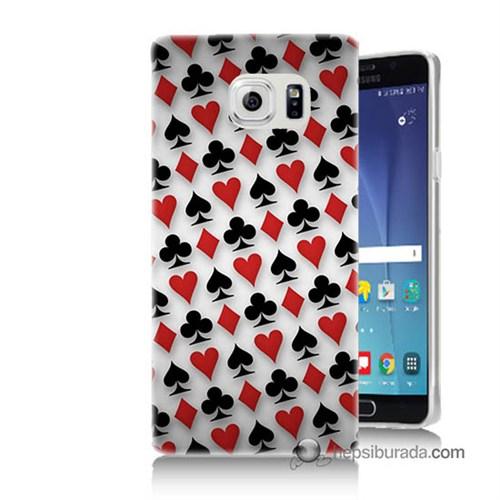 Teknomeg Samsung Galaxy Note 5 Kapak Kılıf Kupa Maça Sinek Karo Baskılı Silikon