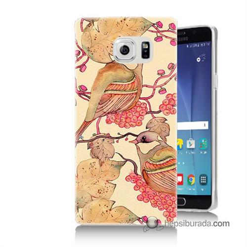 Teknomeg Samsung Galaxy Note 5 Kılıf Kapak Kuşlar Baskılı Silikon