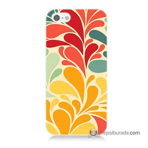 Teknomeg İphone 5S Kapak Kılıf Çiçekler Baskılı Silikon