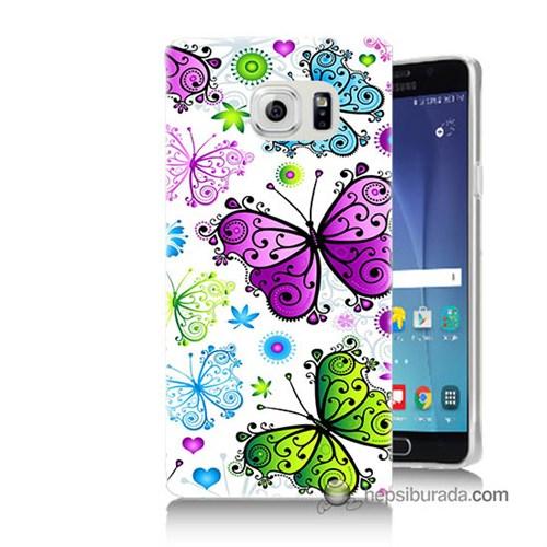 Teknomeg Samsung Galaxy Note 5 Kapak Kılıf Renkli Kelebekler Baskılı Silikon
