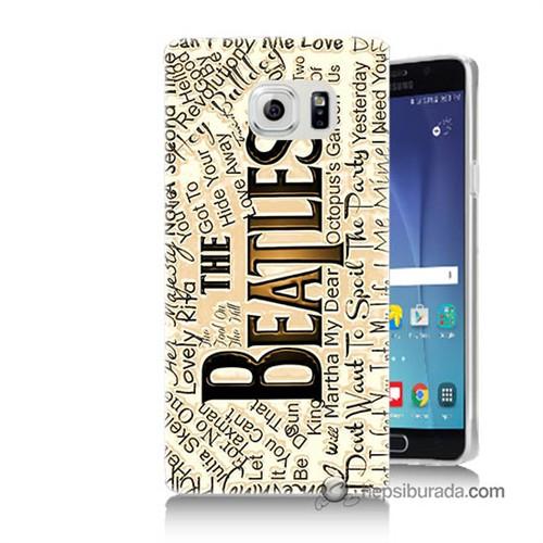 Teknomeg Samsung Galaxy Note 5 Kılıf Kapak The Beatles Baskılı Silikon