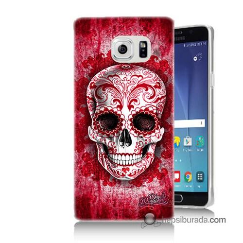 Teknomeg Samsung Galaxy Note 5 Kılıf Kapak Kırmızı İskelet Baskılı Silikon