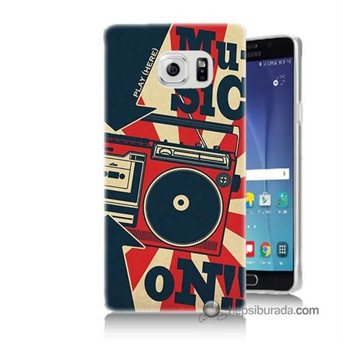 Teknomeg Samsung Galaxy Note 5 Kapak Kılıf Müzik Baskılı Silikon