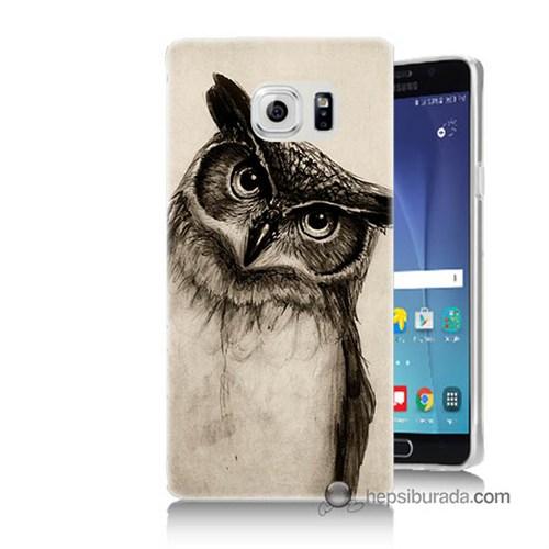Teknomeg Samsung Galaxy Note 5 Kılıf Kapak Düşünen Baykuş Baskılı Silikon