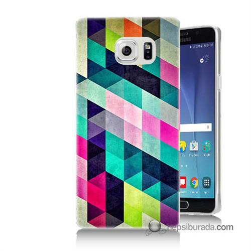 Teknomeg Samsung Galaxy Note 5 Kılıf Kapak Mozaikler Baskılı Silikon