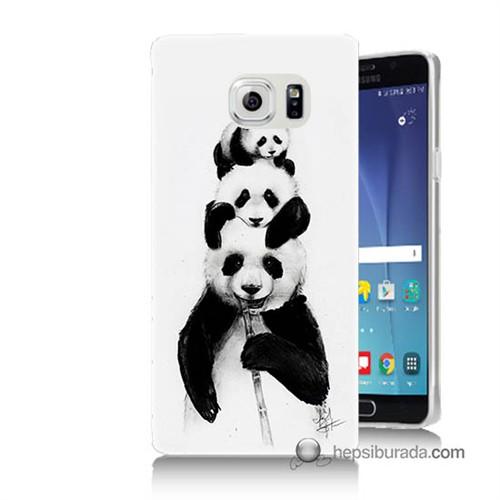 Teknomeg Samsung Galaxy Note 5 Kapak Kılıf Panda Ailesi Baskılı Silikon