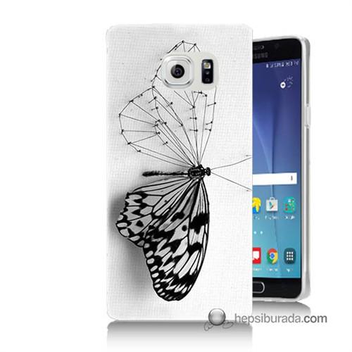 Teknomeg Samsung Galaxy Note 5 Kapak Kılıf Kanatsız Kelebek Baskılı Silikon