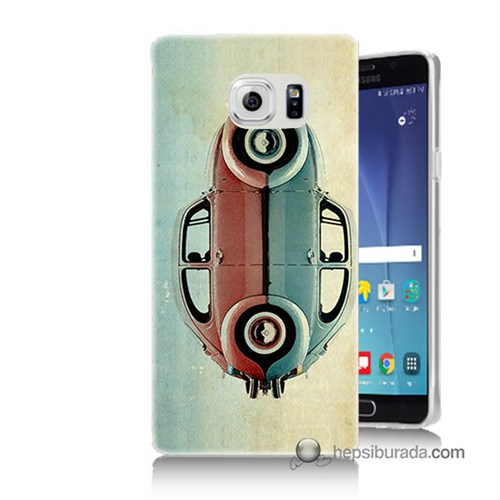 Teknomeg Samsung Galaxy Note 5 Kılıf Kapak Mavi Kırmızı Wolkswagen Baskılı Silikon