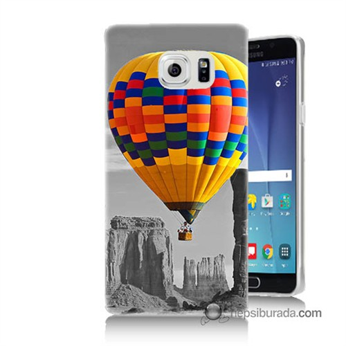 Teknomeg Samsung Galaxy Note 5 Kılıf Kapak Renkli Uçan Balon Baskılı Silikon
