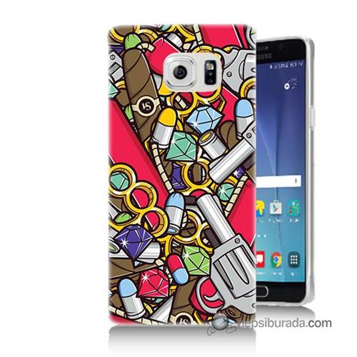Teknomeg Samsung Galaxy Note 5 Kılıf Kapak Cephane Baskılı Silikon