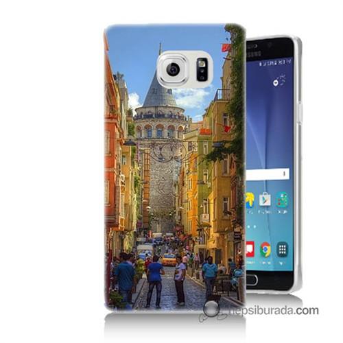 Teknomeg Samsung Galaxy Note 5 Kapak Kılıf Galata Kulesi Baskılı Silikon