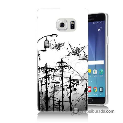 Teknomeg Samsung Galaxy Note 5 Kapak Kılıf Origami Baskılı Silikon