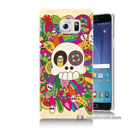 Teknomeg Samsung Galaxy Note 5 Kapak Kılıf Örgülü Kurukafa Baskılı Silikon