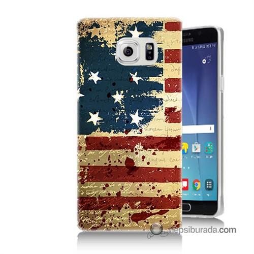 Teknomeg Samsung Galaxy Note 5 Kılıf Kapak Amerika Bayrağı Baskılı Silikon