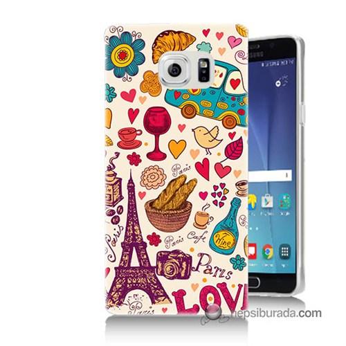 Teknomeg Samsung Galaxy Note 5 Kapak Kılıf Paris Love Baskılı Silikon