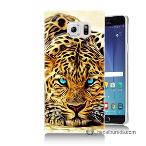 Teknomeg Samsung Galaxy Note 5 Kılıf Kapak Kaplan Baskılı Silikon