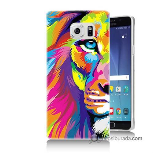 Teknomeg Samsung Galaxy Note 5 Kılıf Kapak Renkli Aslan Baskılı Silikon