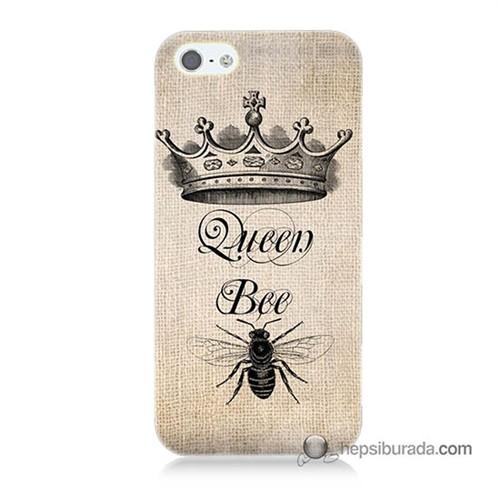 Teknomeg İphone 5 Kılıf Kapak Queen Bee Baskılı Silikon