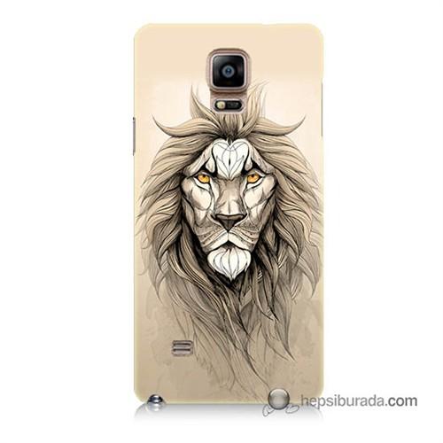 Teknomeg Samsung Galaxy Note 4 Kılıf Kapak Beyaz Aslan Baskılı Silikon