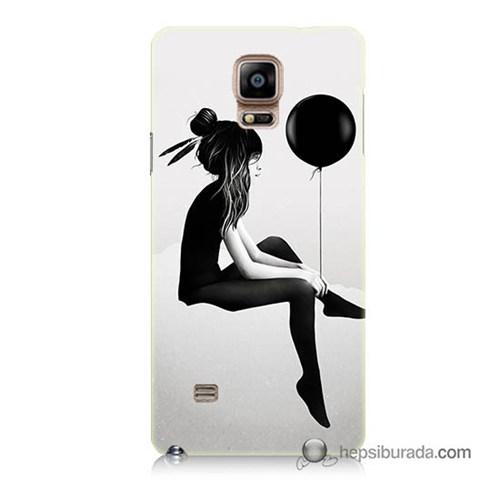 Teknomeg Samsung Galaxy Note 4 Kapak Kılıf Balonlu Kız Baskılı Silikon