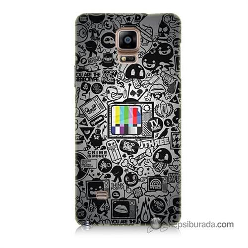 Teknomeg Samsung Galaxy Note 4 Kapak Kılıf Renkli Tv Baskılı Silikon