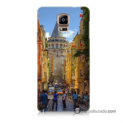 Teknomeg Samsung Galaxy Note 4 Kapak Kılıf Galata Kulesi Baskılı Silikon