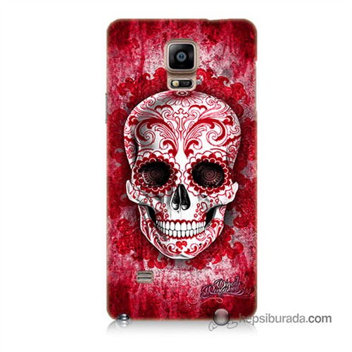 Teknomeg Samsung Galaxy Note 4 Kılıf Kapak Kırmızı İskelet Baskılı Silikon