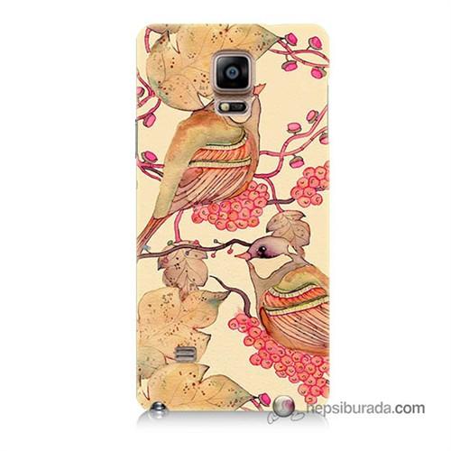 Teknomeg Samsung Galaxy Note 4 Kılıf Kapak Kuşlar Baskılı Silikon