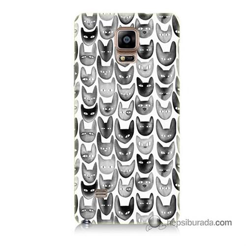 Teknomeg Samsung Galaxy Note 4 Kapak Kılıf Kediler Baskılı Silikon