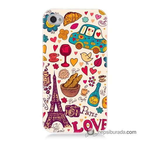 Teknomeg İphone 4S Kapak Kılıf Paris Love Baskılı Silikon