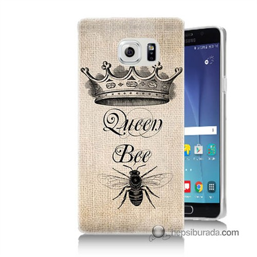 Teknomeg Samsung Galaxy Note 5 Kılıf Kapak Queen Bee Baskılı Silikon