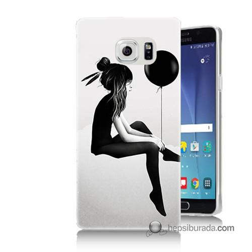 Teknomeg Samsung Galaxy Note 5 Kapak Kılıf Balonlu Kız Baskılı Silikon