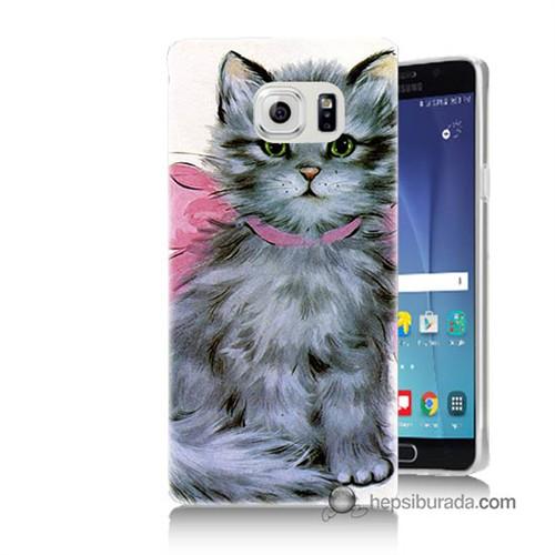 Teknomeg Samsung Galaxy Note 5 Kılıf Kapak Papyonlu Kedi Baskılı Silikon