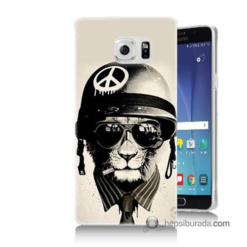Teknomeg Samsung Galaxy Note 5 Kılıf Kapak Barışçı Aslan Baskılı Silikon