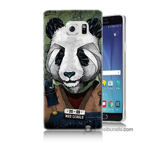 Teknomeg Samsung Galaxy Note 5 Kapak Kılıf İşçi Panda Baskılı Silikon