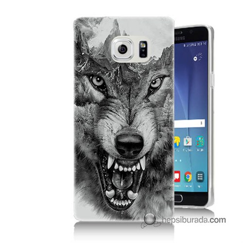 Teknomeg Samsung Galaxy Note 5 Kapak Kılıf Kızgın Kurt Baskılı Silikon